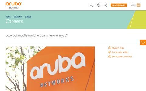 Screenshot of Jobs Page arubanetworks.com - Careers | Aruba Networks - captured June 16, 2015