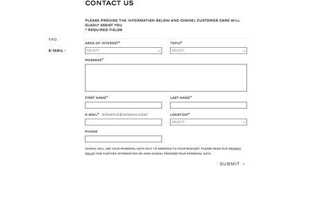 Screenshot of Contact Page chanel.com captured Nov. 23, 2019