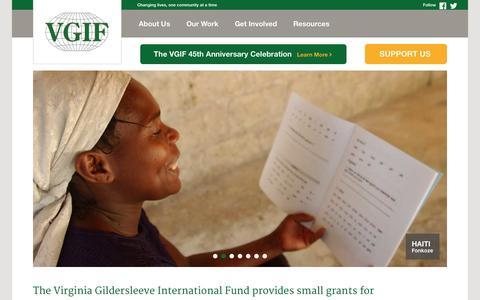 Screenshot of Home Page vgif.org - The Virginia Gildersleeve International Fund   vgif.org - captured Sept. 23, 2014