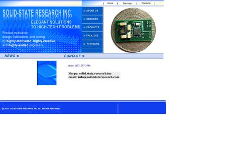 Screenshot of Contact Page solidstateresearch.com - Solid-State Research, Inc. - BioMEMS, MEMS, and NEMS sensors and systems. - captured Oct. 7, 2014