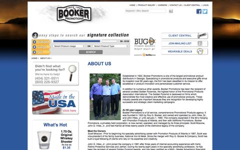 Screenshot of About Page bookerpromo.com - Booker Promotions Inc. - Promotional products Atlanta - Corporate gifts Atlanta - Promotional Items Atlanta- Promotional Ideas-Corporate Awards-Corporate Gift Ideas-Products - captured Nov. 23, 2016