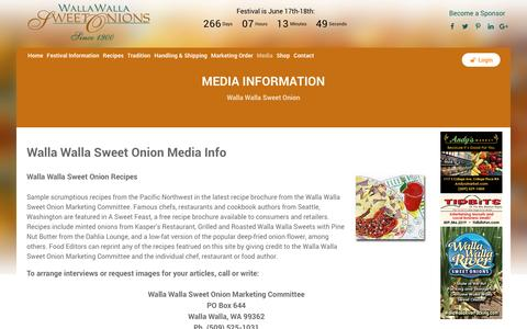 Screenshot of Press Page sweetonions.org - Walla Walla Sweet Onions - Media - captured Sept. 24, 2016