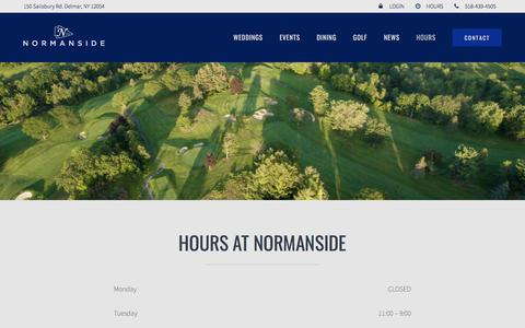 Screenshot of Hours Page normanside.com - HOURS | Normanside - captured Nov. 14, 2017