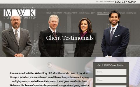 Screenshot of Testimonials Page mwkfirm.com - Client Testimonials | Miller Weber Kory LLP - captured Oct. 26, 2017