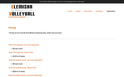 Screenshot of Pricing Page elemishavolleyball.com - pricing — Elemisha Volleyball - captured July 17, 2018