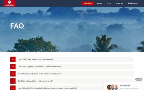 Screenshot of FAQ Page nezasa.com - FAQ - Nezasa - captured March 30, 2016