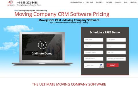 Screenshot of Pricing Page netensity.com - Moving Company Crm Software Pricing | Moving Company estimate Software - captured Oct. 20, 2018