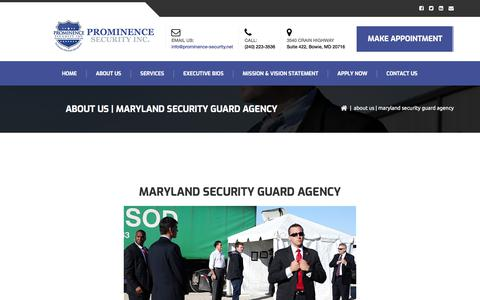 Screenshot of About Page prominence-security.net - Maryland Security Guard Agency | Prominence Security - captured Aug. 29, 2017