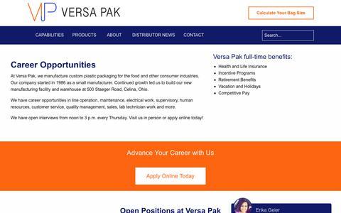 Screenshot of Jobs Page versa-pak.com - Career Opportunities   Versa Pak - captured Sept. 21, 2018