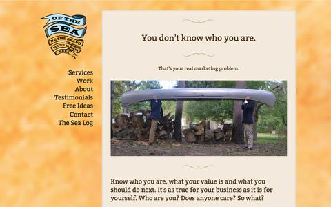 Screenshot of Services Page ofthesea.com - Of the Sea Marketing - Buffalo, NY - captured Oct. 27, 2014