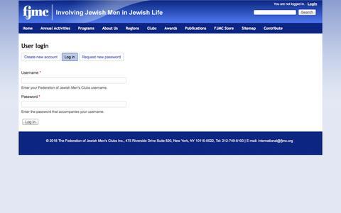 Screenshot of Login Page fjmc.org - User login   Federation of Jewish Men's Clubs - captured Aug. 9, 2018
