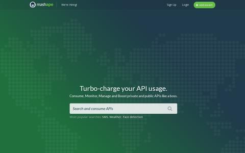 Screenshot of Home Page mashape.com - Mashape - captured July 11, 2014