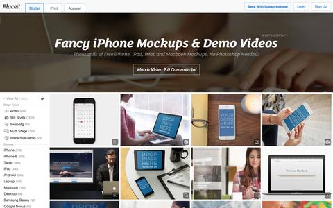 Screenshot of Home Page placeit.net - Free iPhone Mockup Generator & App Demo Videos by Placeit - captured Feb. 8, 2016