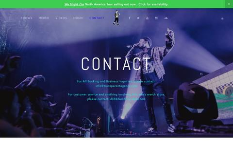 Screenshot of Contact Page dumbfoundead.com - Contact — Dumbfoundead - Official Website and Merch - captured Feb. 26, 2017
