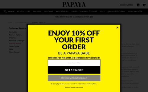 Screenshot of Privacy Page papayaclothing.com - Privacy Policy | Shop at Papaya Clothing | Shop at Papaya Clothing - captured Dec. 14, 2018