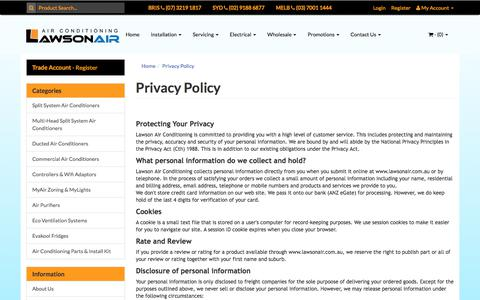 Screenshot of Privacy Page lawsonair.com.au - Lawson Air - Privacy Policy - captured July 16, 2018