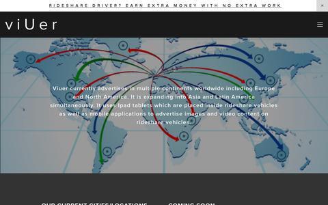 Screenshot of Locations Page viuer.com - LOCATIONS — viUer -rideshare advertising - captured Feb. 25, 2016