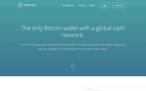 Screenshot of Home Page robocoin.com - Robocoin invented the Bitcoin ATM. Now reinventing the Bitcoin Wallet | Robocoin - captured Sept. 24, 2014