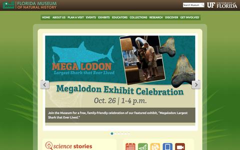 Screenshot of Login Page ufl.edu - Home :: Florida Museum of Natural History - captured Oct. 11, 2014
