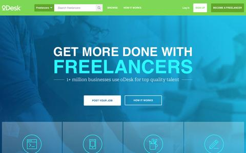 Screenshot of Home Page odesk.com - Hire Freelancers & Get Freelance Jobs Online - captured Jan. 15, 2015