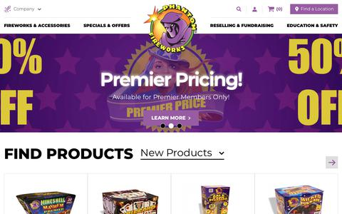 Screenshot of Home Page fireworks.com - Homepage | Phantom Fireworks - captured Sept. 27, 2018