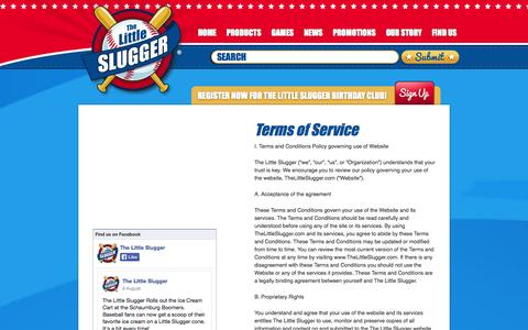 Screenshot of Terms Page thelittleslugger.com - Terms of Service - The Little Slugger - captured Sept. 30, 2014