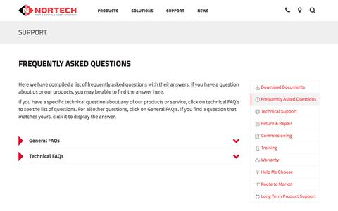 Screenshot of FAQ Page nortechcontrol.com - Frequently Asked Questions | Nortech Control Systems Ltd - captured Nov. 8, 2017