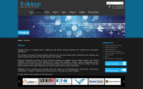 Screenshot of Products Page rajdeep.co.in - Products - Rajdeep - captured Oct. 7, 2014
