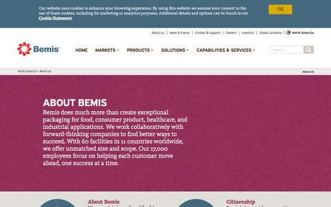 Screenshot of About Page bemis.com - Bemis - About Bemis Company, Inc.   Bemis - captured Nov. 4, 2015
