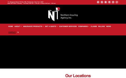 Screenshot of Contact Page northerninsuring.com - Contact   Northern Insuring Agency, Inc. - captured Dec. 10, 2016