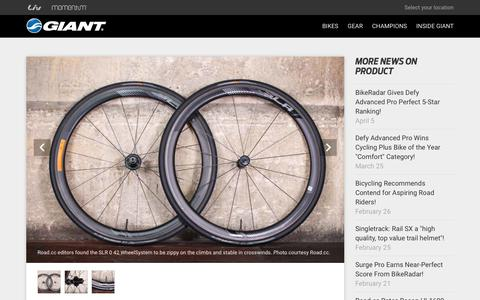 Screenshot of Press Page giant-bicycles.com - Road.cc Names SLR 0 42 One of the Top Tubeless Road Wheels! | Giant Bicycles Official site - captured April 10, 2019