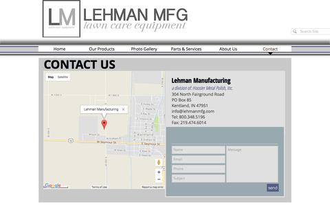 Screenshot of Contact Page llc-equipment.com - Lehman Lawn Care Equipment | Contact - captured Aug. 1, 2017
