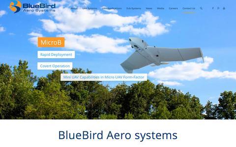 Screenshot of Home Page bluebird-uav.com - BlueBird Aero Systems - captured Feb. 7, 2016