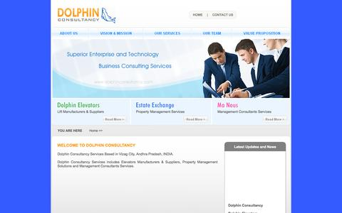 Screenshot of Home Page dolphinconsultancy.com - Dolphin Consultancy - Dolphin Elevators, Estate Exchage, Manous Management Consultants - captured Sept. 30, 2014