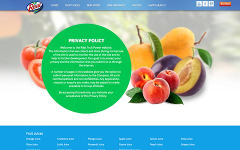 Screenshot of Privacy Page dabur.com - Real Fruit :: Privacy Policy - captured Feb. 9, 2018