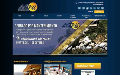 Screenshot of Home Page lekliff.com - Le Kliff Restarant & Bar en Puerto Vallarta - captured Sept. 19, 2014