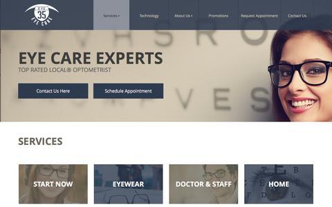 Screenshot of Services Page eye35eyecare.com - Eyeglasses Lakeville | Contact Lenses MN | Optomap 55044 - Eye 35 Eyecare - captured June 21, 2016
