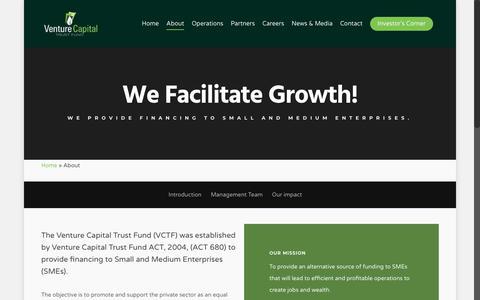 Screenshot of About Page venturecapitalghana.com.gh - About - Ghana Venture Capital Trust Fund - captured Oct. 19, 2018