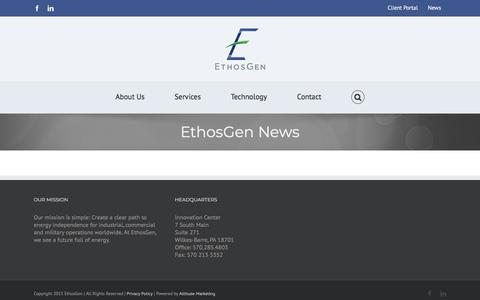 Screenshot of Press Page ethosgen.com - EthosGen News - Ethos Gen - captured July 13, 2018