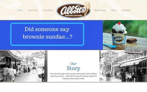 Screenshot of Home Page abbottscustard.com - Frozen Custard, Frozen Desserts   Serving the US - captured Oct. 7, 2017