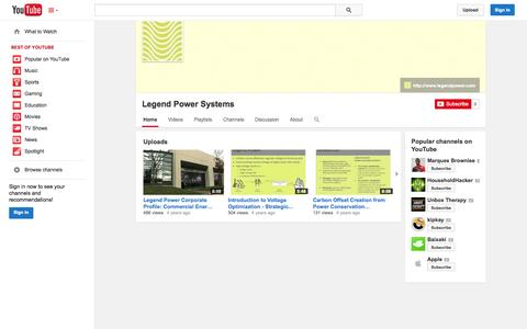 Screenshot of YouTube Page youtube.com - Legend Power Systems  - YouTube - captured Oct. 22, 2014
