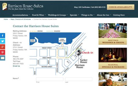 Screenshot of Contact Page harrisonhousesuites.com - Contact the Harrison House Suites - captured Oct. 27, 2016
