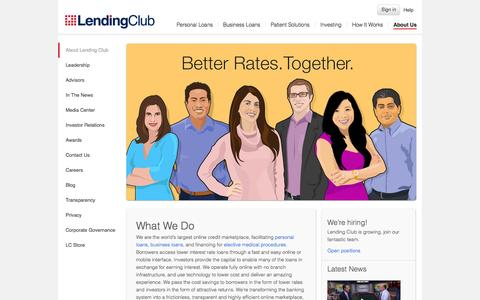 Screenshot of About Page lendingclub.com - About Us - captured Nov. 18, 2015