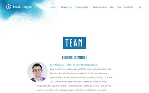 Screenshot of Team Page breakdengue.org - Editorial committee · Break Dengue - captured July 7, 2016
