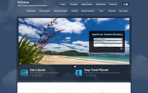 Screenshot of Home Page nzonline.org.nz - NZ Trip Planner - NZ Online - captured Oct. 6, 2014