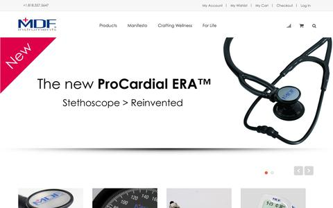 Screenshot of Home Page mdfinstruments.com - MDF Instruments Official Website | Stethoscope, Sphygmomanometer, Reflex Hammer, Thermometer Collection & More - captured Sept. 25, 2014