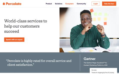 Screenshot of Services Page percolate.com - Services | Percolate - captured June 13, 2018