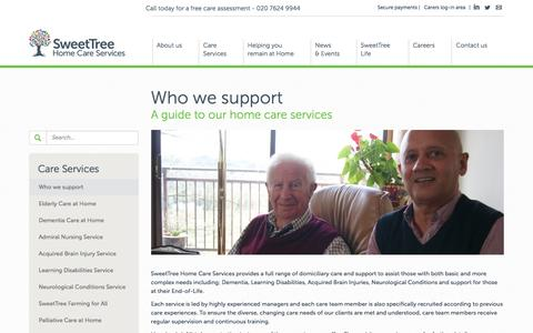 Screenshot of Support Page sweettree.co.uk - Who we support - SweetTree - captured Jan. 23, 2016