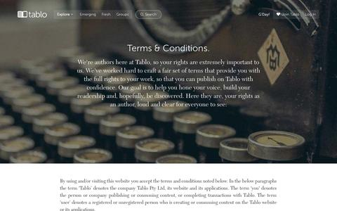 Screenshot of Terms Page tablo.io - Tablo - Terms & Conditions - captured Sept. 20, 2015