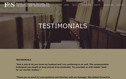 Screenshot of Testimonials Page fcssandiego.com - Testimonials — Family Counseling Services, Inc. - captured April 25, 2016